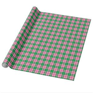 Hot Pink Emerald Forest Green Plaid Tartan Wrapping Paper