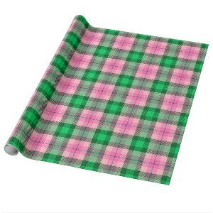Hot Pink Emerald Forest Green XL Plaid Tartan Wrapping Paper