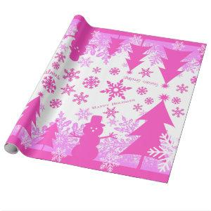 Hot Pink Purple Christmas Winter Wrapping Paper