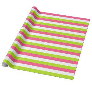 Hot Pink, White and Lime Green Stripes Wrapping Paper