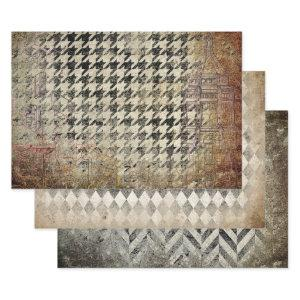 HOUNDSTOOTH, HARLEQUIN & HERRINGBONE GRUNGE DECO WRAPPING PAPER SHEETS