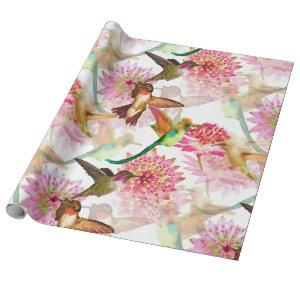 Hummingbirds and Astrantia Watercolor Wrapping Paper
