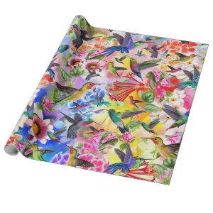 Hummingbirds and Flowers Wrapping Paper