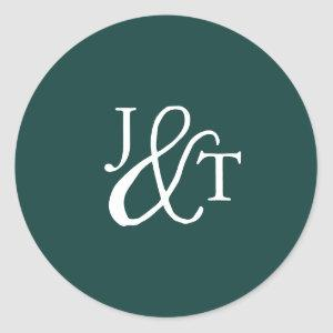 Hunter Green Ampersand Monogram Wedding Classic Round Sticker