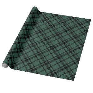 Hunter Green and Black Tartan Plaid Holiday Wrapping Paper