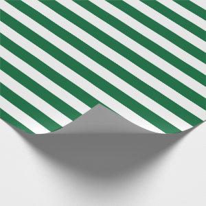 Hunter Green and White Stripes Pattern Wrapping Paper