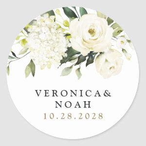 Hydrangea Elegant White Gold Rose Floral Wedding Classic Round Sticker