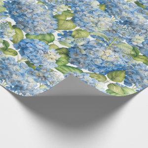 Hydrangea Floral Classic Blue Pattern Wrapping Paper