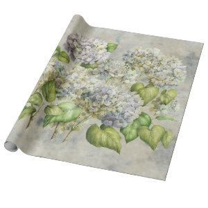Hydrangea Floral Lavender on Gray Vintage Wrapping Paper