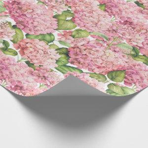 Hydrangea Floral Pink Pattern Wrapping Paper