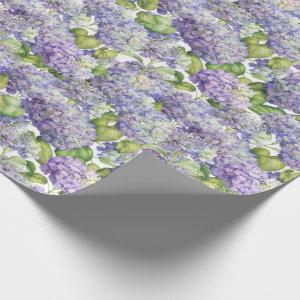 Hydrangea Floral Purple Pattern Wrapping Paper