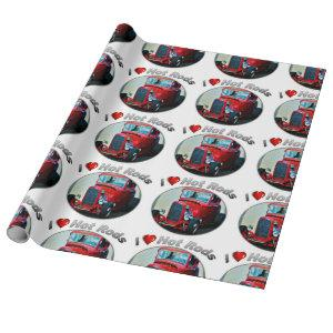 """I Heart Hot Rods - Matte Wrapping Paper, 30"""" x 6' Wrapping Paper"""
