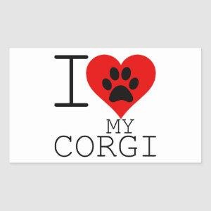 I HEART MY CORGI RECTANGULAR STICKER