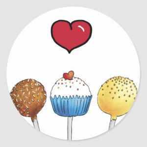I love cake pops classic round sticker