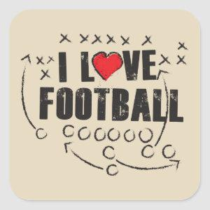 "I Love Football - Beige Square 1½"" Matte Stickers"