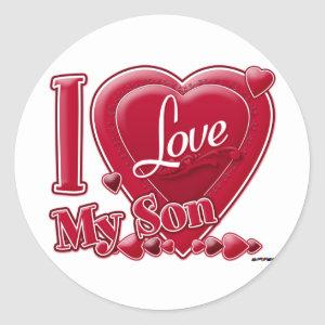 I Love My Son red - heart Classic Round Sticker