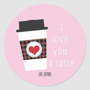 I LOVE YOU A LATTE Valentines Day Favor Sticker