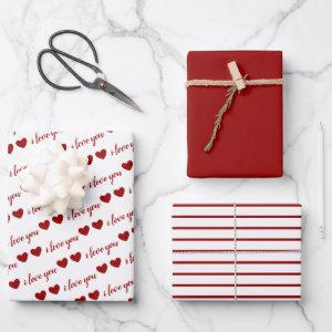 I Love You Valentine Red Hearts Stripes Wrapping Paper Sheets