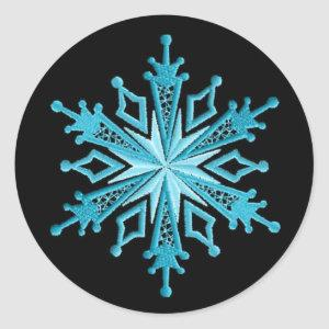 Ice Blue and Black Snowflake Stickers