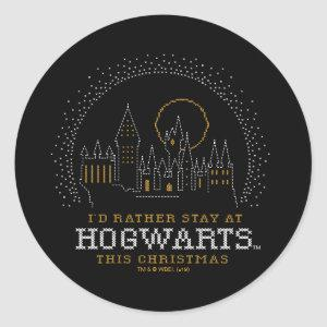 I'd Rather Stay At HOGWARTS™ Cross-Stitch Art Classic Round Sticker