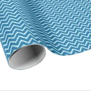 Ikat Chevrons - Indigo and Pale Blue Wrapping Paper