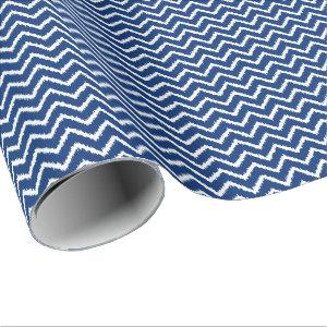 Ikat Chevrons - Navy blue and white Wrapping Paper