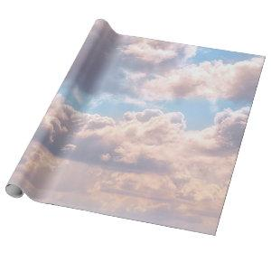 Illuminated pink fluffy clouds in a blue sky wrapping paper