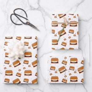 Illustrated Brown White Smiling Smore Pattern Wrapping Paper Sheets