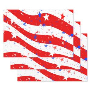Independence Day Stars & Stripes Red White Blue Wrapping Paper Sheets