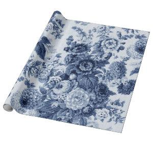 Indigo Blue Black White Vintage Floral Toile No.3 Wrapping Paper