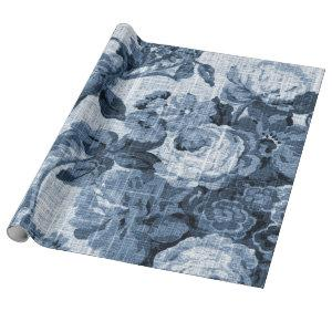 Indigo Blue Tone Vintage Floral Toile Fabric No.4 Wrapping Paper