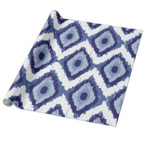 Indigo Blue Tribal Ikat Diamond White Chevron Wrapping Paper
