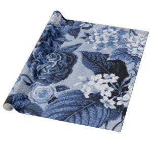 Indigo Blue Vintage Floral Toile Decoupage Wrapping Paper