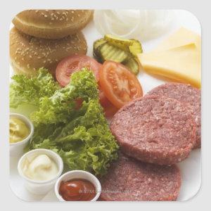 Ingredients for cheeseburgers square sticker