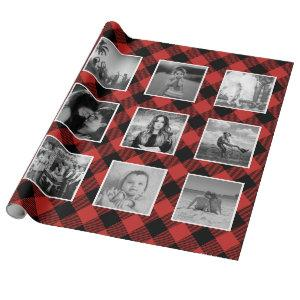 Instagram Photo Collage Buffalo Plaid Lumberjack Wrapping Paper