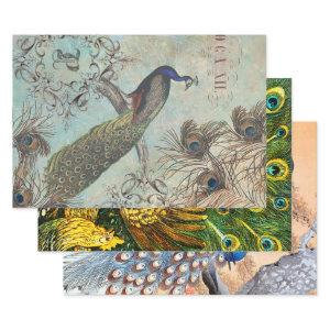 INTERNATIONAL PEACOCK ART DECOUPAGE WRAPPING PAPER SHEETS