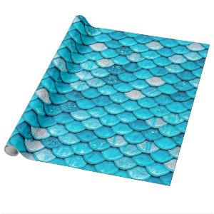 Iridescent Blue Glitter Shiny Mermaid Fish Scales Wrapping Paper