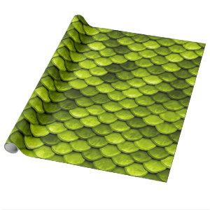 Iridescent Green Glitter Mermaid Fish Scales Wrapping Paper