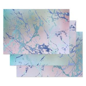 Iridescent Marble | Holographic Dusty Blue Pink Wrapping Paper Sheets