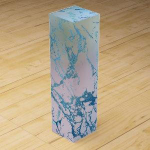 Iridescent Marble | Trendy Holographic Blue Pink Wine Box