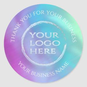 Iridescent rainbow holographic your logo thank you classic round sticker