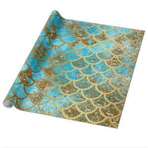 Iridescent Teal Gold Glitter  Mermaid Fish Scales Wrapping Paper