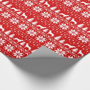 Irish Wolfhounds Christmas Sweater Pattern Red Wrapping Paper