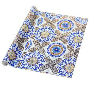 Italian Blue Mosiac Wrapping Paper