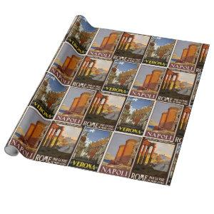 Italy travel vintage cities collage retro Italian Wrapping Paper