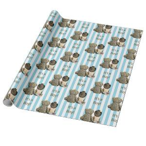 It's a Boy Baby Cowboy and Teddy Bear Baby Shower Wrapping Paper