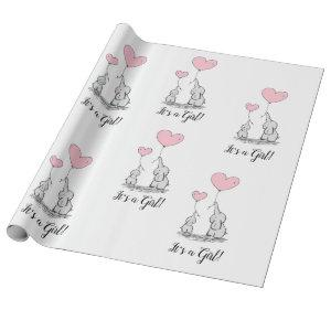 It's a Girl Pink Elephant Mother Baby Shower Wrapping Paper