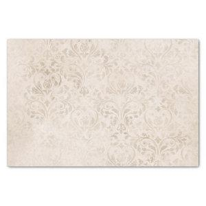 Ivory and White Vintage Damask Tissue Paper