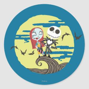 Jack and Sally   Cute Moon Classic Round Sticker