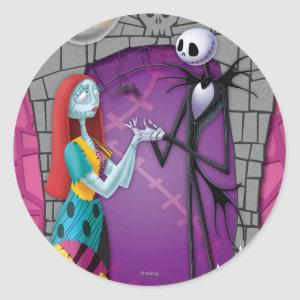 Jack and Sally Holding Hands Classic Round Sticker